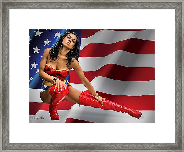 Flag Day With Wonder Warrior Framed Print