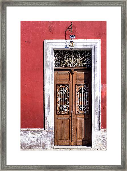 Wood And Wrought Iron Doorway In Merida Framed Print