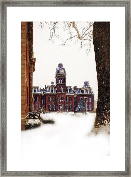 Woodburn Blowing Snow Framed Print