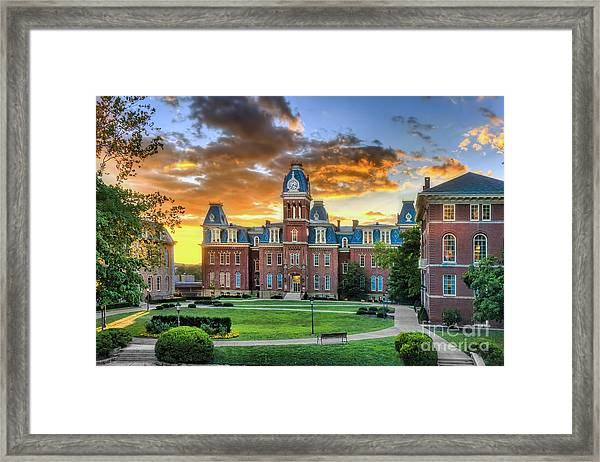 Woodburn Hall Evening Sunset Framed Print
