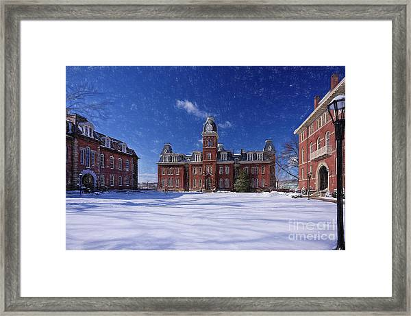 Woodburn Hall In Snow Strom Paintography Framed Print