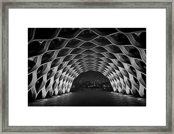 Wooden Archway With Chicago Skyline In Black And White Framed Print