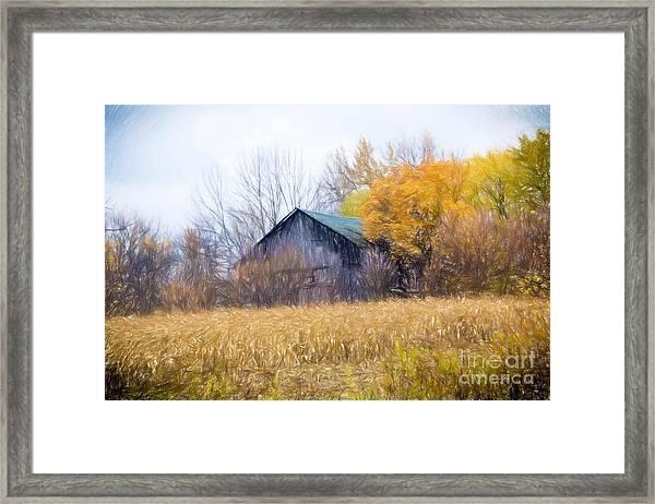 Wooden Autumn Barn Framed Print