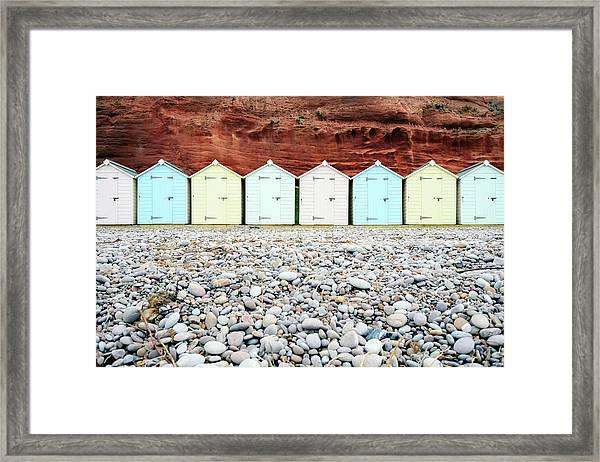 Wooden Beach Huts Framed Print