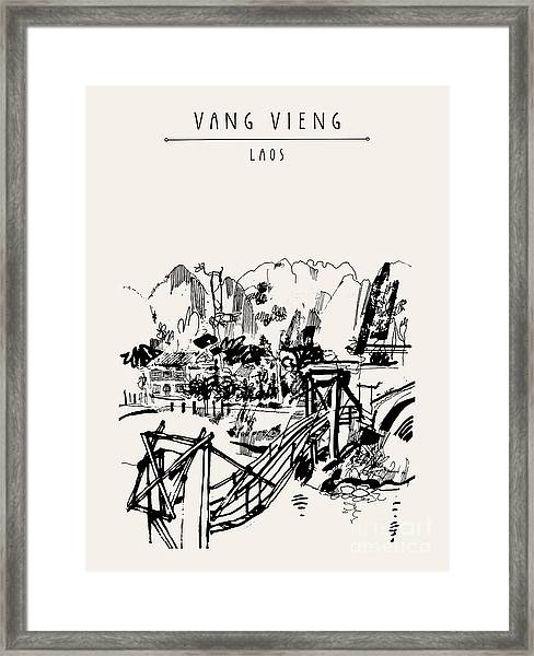 Wooden Bridge, Mountains, Riverside And Framed Print