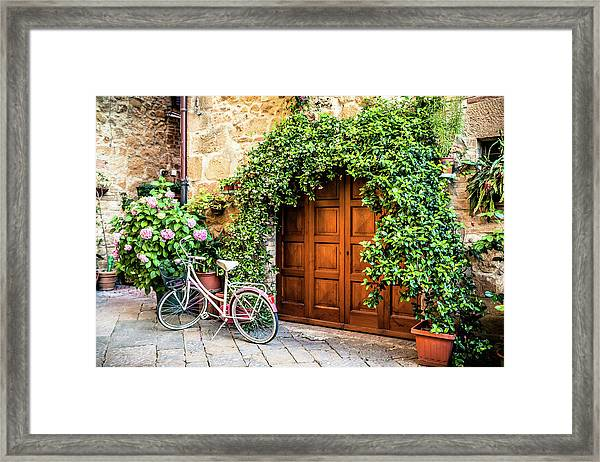 Wooden Gate With Plants In An Ancient Framed Print by Giorgiomagini