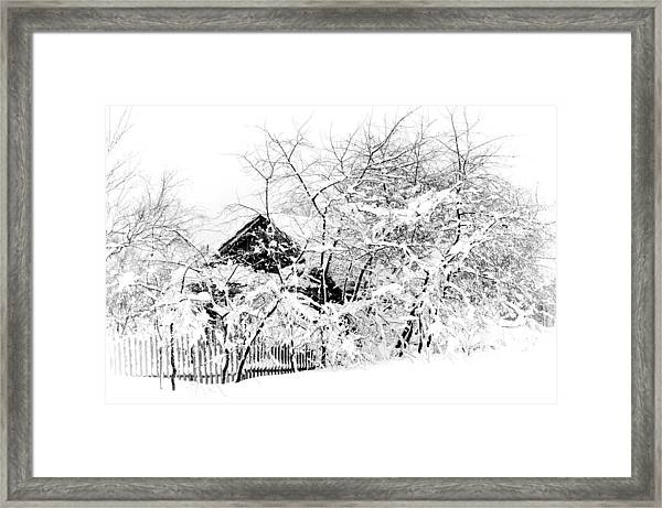 Wooden House After Heavy Snowfall. Russia Framed Print