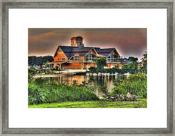 Wooden Lodge Over Looking A Lake Framed Print