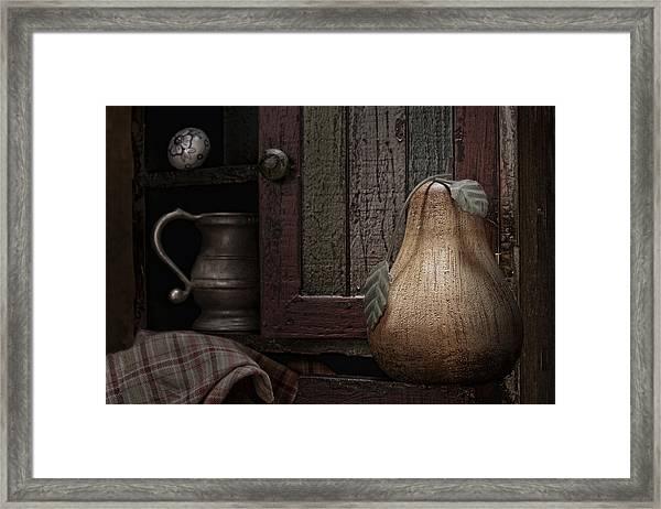 Wooden Pear Still Life Framed Print