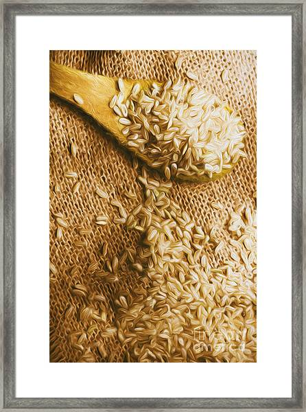 Wooden Tablespoon Serving Of Uncooked Brown Rice Framed Print