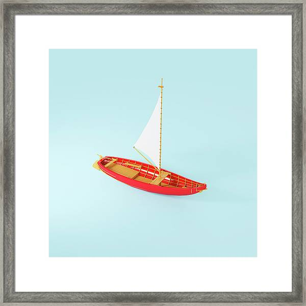 Wooden Toy Sailing Boat Framed Print