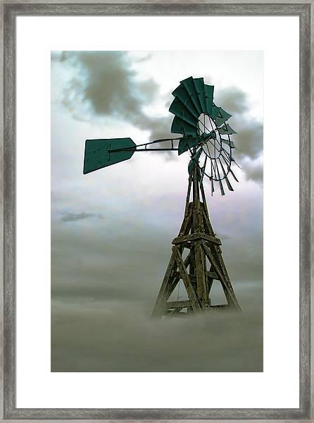 Wooden Windmill Framed Print