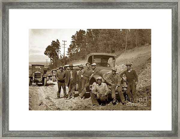 Workers On Highway One Monterey Carmel Hill California 1929 Framed Print
