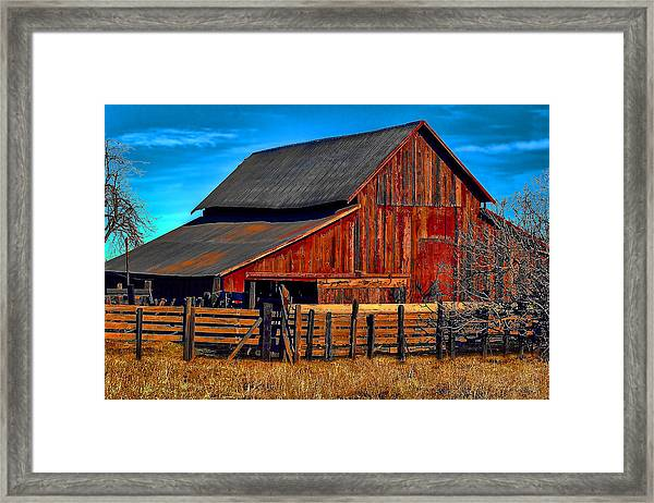 Working Barn Of Yuba County Framed Print