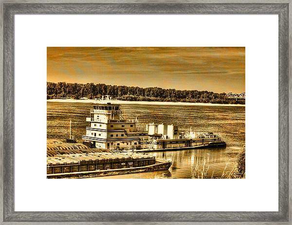 Working The River - Mississippi River Framed Print