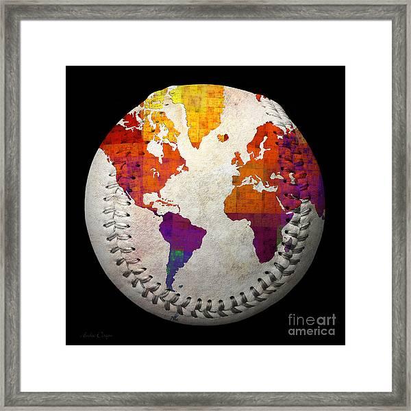 World Map - Rainbow Bliss Baseball Square Framed Print