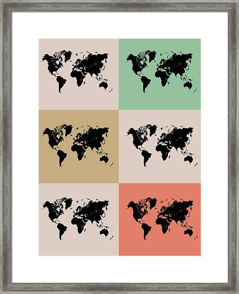 World Map Grid Poster 2 Framed Print