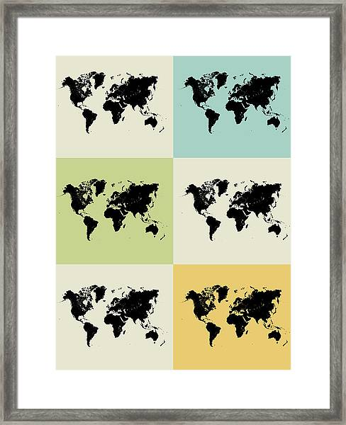 World Map Grid Poster Framed Print