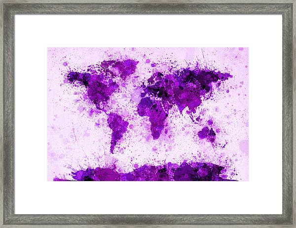 World Map Paint Splashes Purple Framed Print