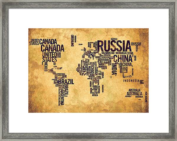 World Map Typography 6 Watercolor Painting Framed Print