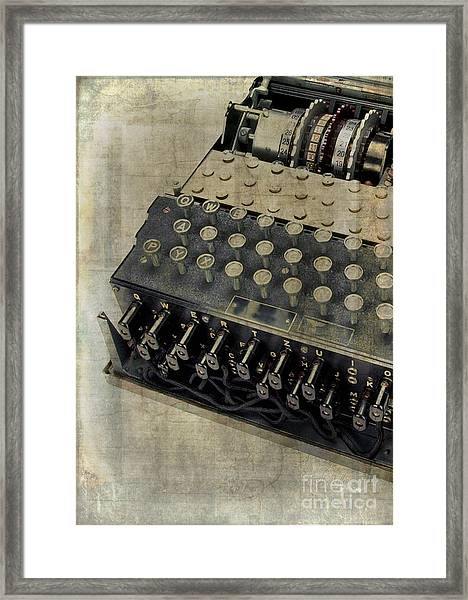 Framed Print featuring the photograph World War II Enigma Secret Code Machine by Edward Fielding