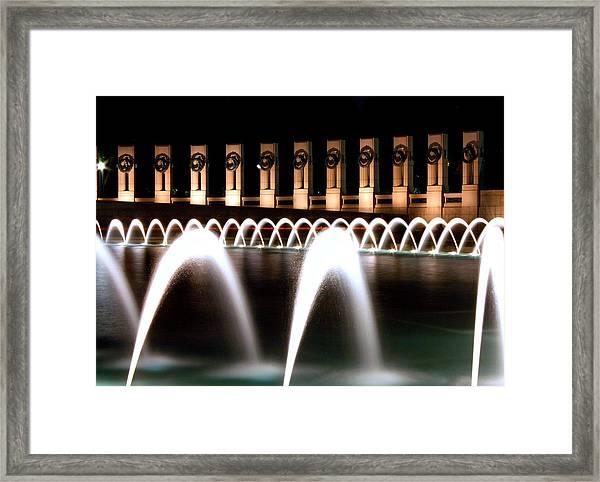 World War II Memorial At Night Framed Print