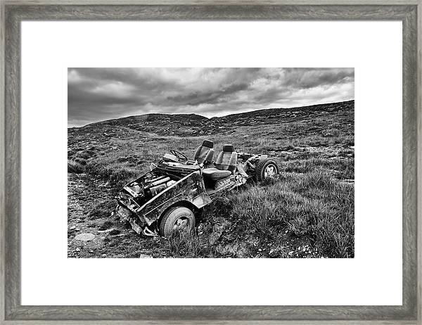 Wrecked Car On Mountain Framed Print