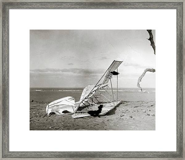 Wrecked Wright Brothers Glider Framed Print