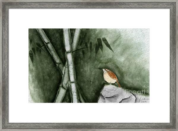 Wren In Bamboo Framed Print