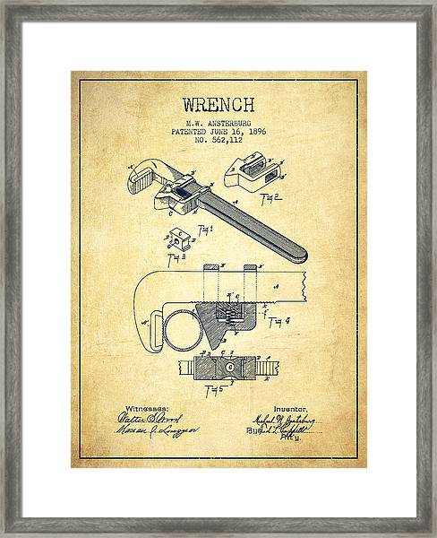 Wrench Patent Drawing From 1896 - Vintage Framed Print