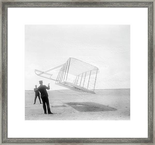 Wright Brothers Testing A Glider In 1901 Framed Print