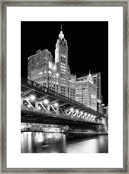 Wrigley Building At Night In Black And White Framed Print