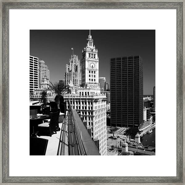 Wrigley Clock Tower Skyline Black White Framed Print