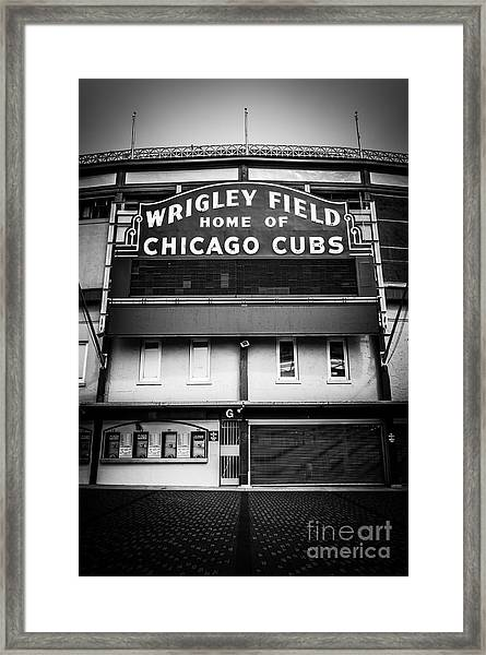 Wrigley Field Chicago Cubs Sign In Black And White Framed Print