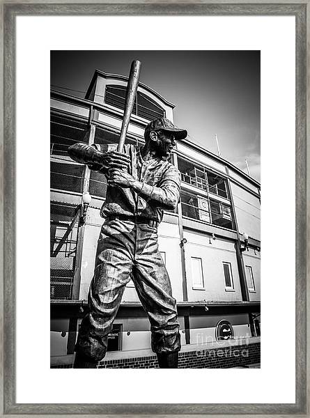 Wrigley Field Ernie Banks Statue In Black And White Framed Print