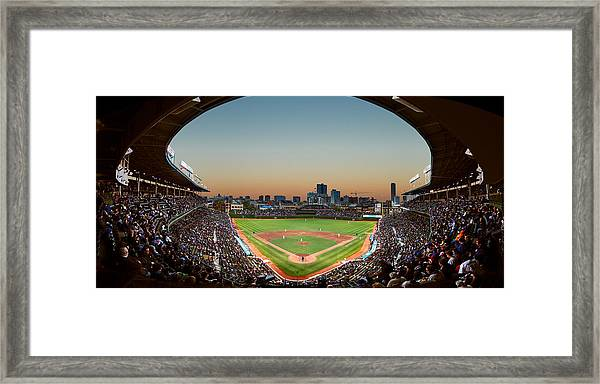 Wrigley Field Night Game Chicago Framed Print