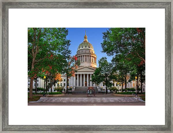 Wv Capitol As Dusk Framed Print
