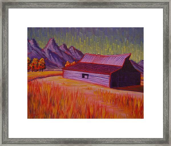 Wyoming Barn In Red Framed Print