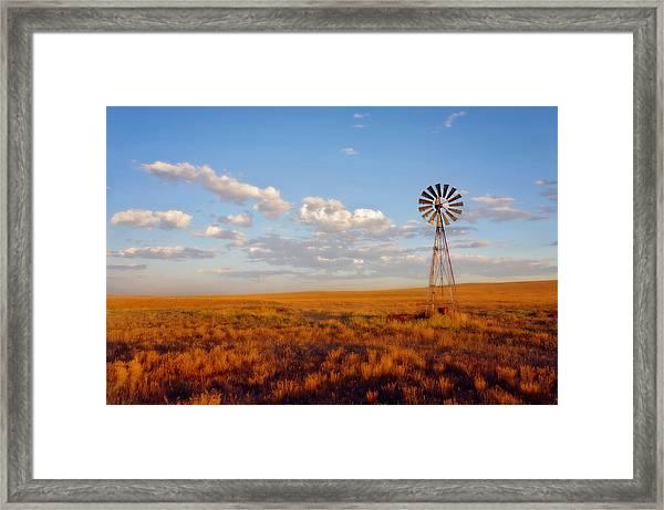Windmill At Sunset Framed Print