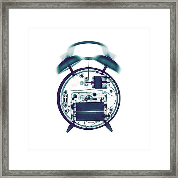 X-ray Of A Mechanical Alarm Clock Framed Print