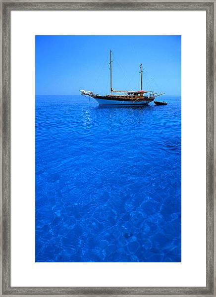 Yacht Anchored In The Spectacular Framed Print