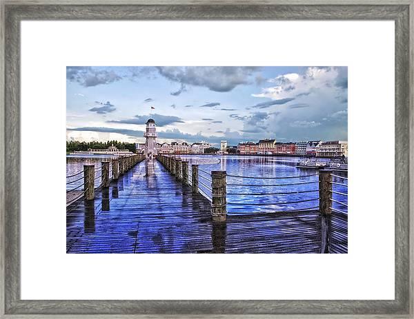 Yacht And Beach Club Lighthouse Framed Print