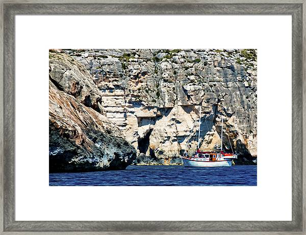 Yacht In Sea Near Popeye Village Framed Print