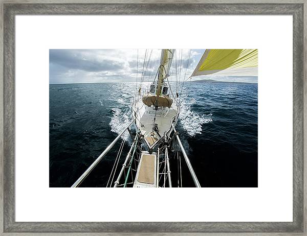 Yacht Sailing On The Southern Ocean Framed Print