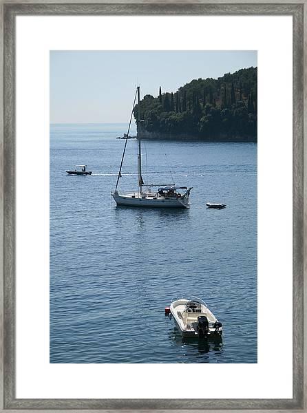 Yachts At Anchor Framed Print