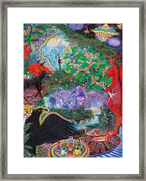Framed Print featuring the painting Yana Huaman by Pablo Amaringo