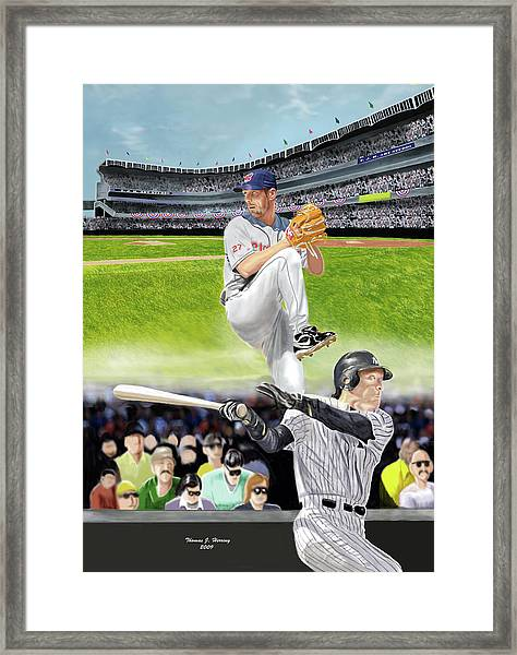 Yankees Vs Indians Framed Print