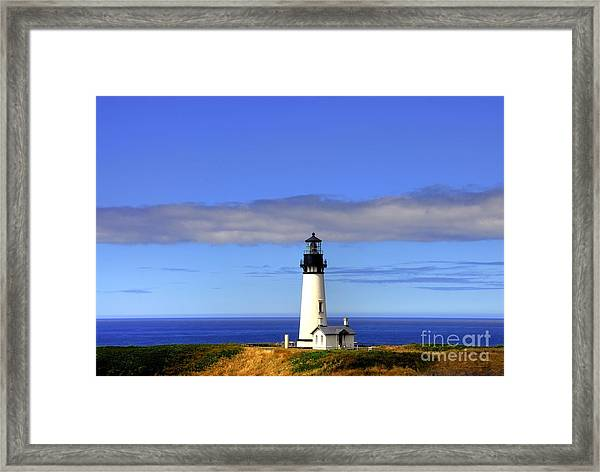 Framed Print featuring the photograph Yaquina Head Light   2 by Mel Steinhauer