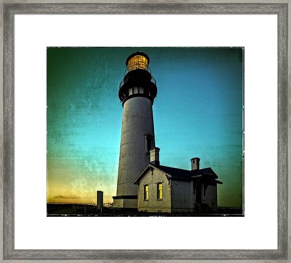Yaquina Head Lighthouse At Sunset Framed Print