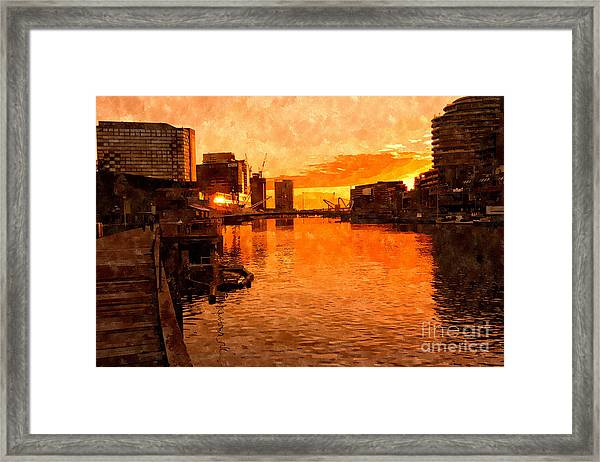 Yarra River Sunset As Seen From Promenade In Melbourne Framed Print